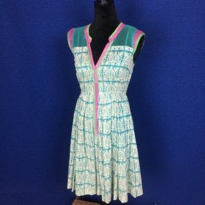 TRACY REESE Colorful Dress w/ Mesh & Front Snaps